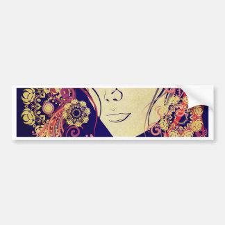 Winter Girl with Floral Grunge 4 Bumper Sticker