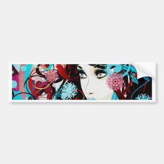 Winter Girl with Floral Grunge Bumper Sticker
