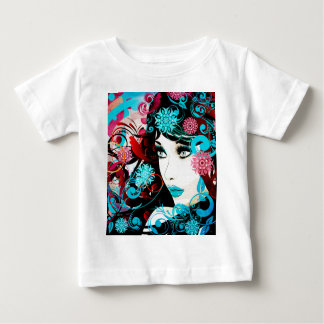 Winter Girl with Floral Grunge Tee Shirt