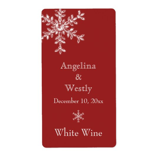 Winter Glamour Wedding Wine Label (red) Shipping Label