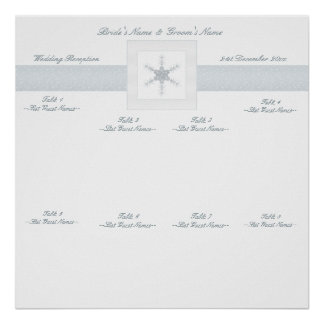 Winter Glitter Snowflakes Wedding Seating Chart