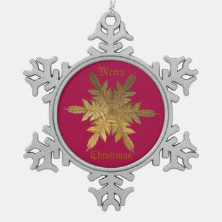 Winter Gold Metal Flake Pewter Snowflake Decoration