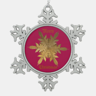 Winter Gold Metal Flake Snowflake Pewter Christmas Ornament