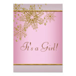 Winter Gold Pink Snowflakes Baby Girl Shower 13 Cm X 18 Cm Invitation Card