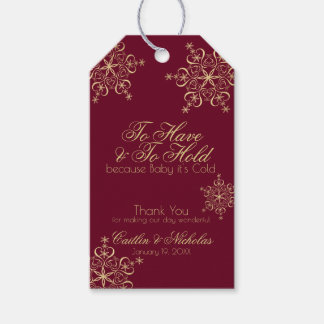 Winter Gold Snowflakes Burgundy Gift Tags