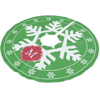 Winter Green and Festive Red Giant Snowflake Brushed Polyester Tree Skirt
