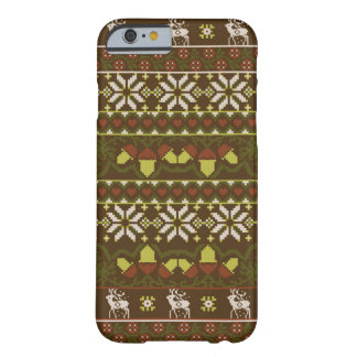 Winter green knitted patern with deer barely there iPhone 6 case