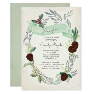 Winter Greenery Baby Shower Invitation
