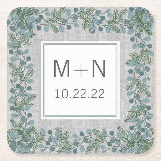 Winter greenery wedding / bridal shower decor square paper coaster