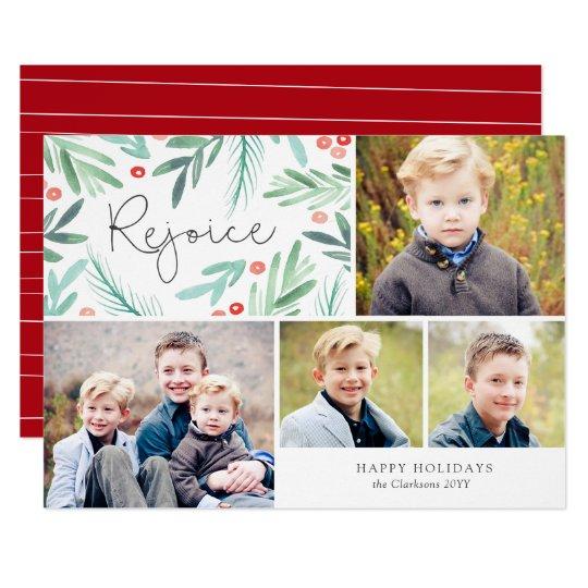 Winter Greens Holiday Multi Photo Card