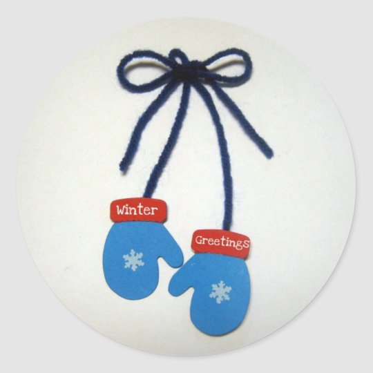 Winter Greetings Classic Round Sticker