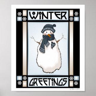 Winter Greetings Snowman #2 Print