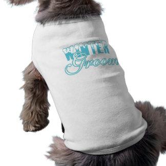 Winter Groom Wedding Sleeveless Dog Shirt