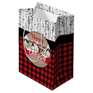 Winter Happy Birthday Gift Bag Snowman Moose Plaid