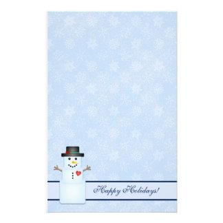 Winter Happy Holidays Snowman Stationery