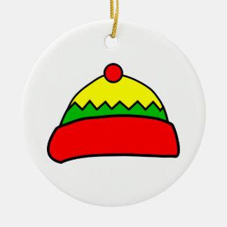 Winter Hat Round Ceramic Decoration