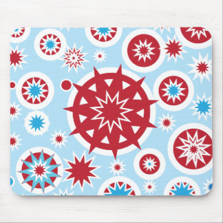 Winter Holiday Blue Red Snowflakes Pattern Mouse Pad