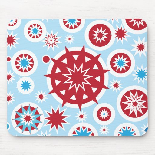 Winter Holiday Blue Red Snowflakes Pattern Mousepad