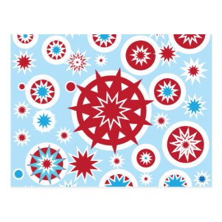 Winter Holiday Blue Red Snowflakes Pattern Post Card