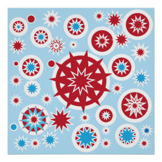 Winter Holiday Blue Red Snowflakes Pattern Poster