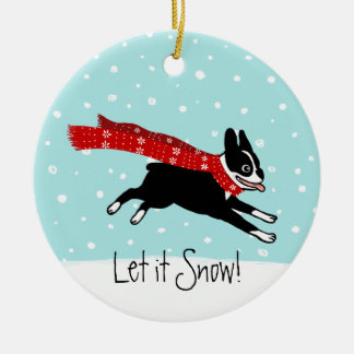 Winter Holiday Boston Terrier Wearing Red Scarf Christmas Ornament