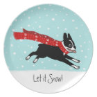 Winter Holiday Boston Terrier Wearing Red Scarf Plate