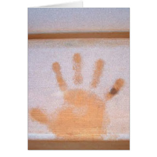 "Winter Holiday Card: ""hand print in frost"" Card"