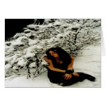 "Winter Holiday Card: ""Snow Tree with Girl"" Greeting Card"