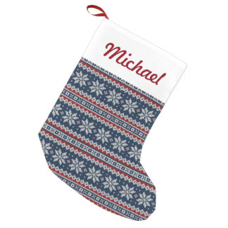 Winter Holiday Knitted Pattern Small Christmas Stocking