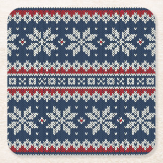 Winter Holiday Knitted Pattern Square Paper Coaster