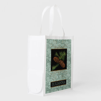 Winter Holiday Pine Cone Watercolor Reusable Grocery Bag
