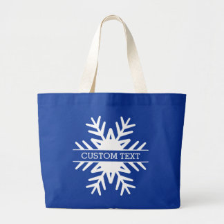 Winter Holiday Snowflake Custom Text Large Tote Bag