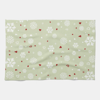 Winter Holiday Snowflakes Hearts on Green Tea Towel
