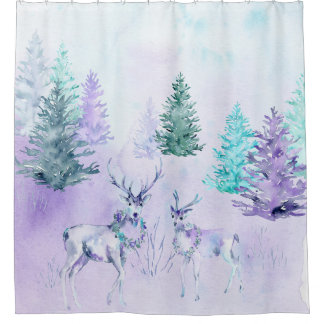 Winter Holiday - Watercolor Deer Scene Shower Curtain