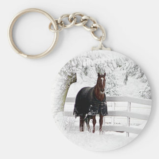 Winter Horse Basic Round Button Key Ring