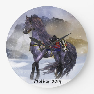 Winter Horse, Equine Art Round (Large) Wall Clock