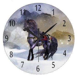 Winter Horse Equine Art Wall Clock