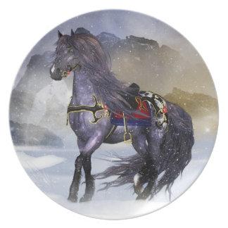 Winter Horse, Equine Fantasy Art Melamine Plate