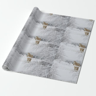 winter horse scenery wrapping paper