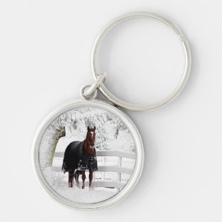 Winter Horse Silver-Colored Round Key Ring