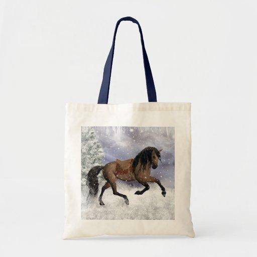 Winter Horse Tote Bag - Equine Eco Friendly Bag