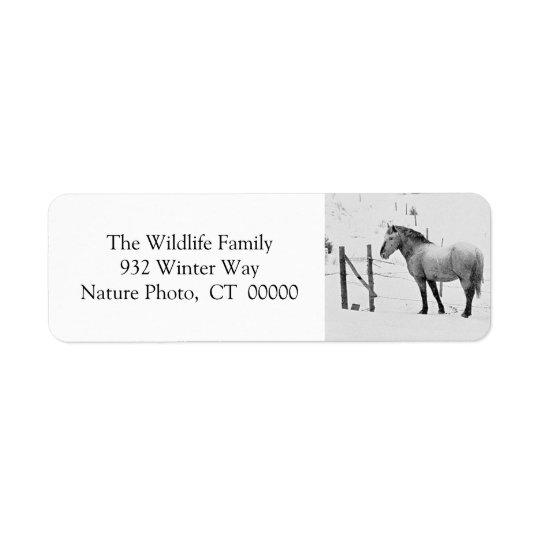 Winter Horses Fence Personalizable Christmas Label Return Address Label