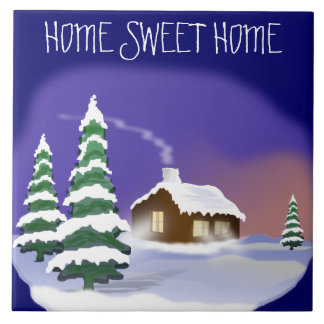Winter Housewarming: Snowy Home Sweet Home Large Square Tile