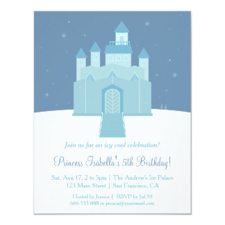 Winter Ice Frozen Palace Princess Birthday Party 11 Cm X 14 Cm Invitation Card