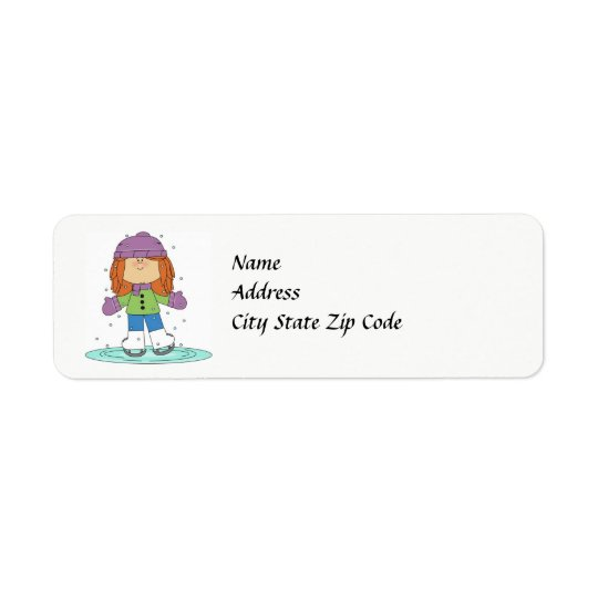 Winter Ice Skater Address Label