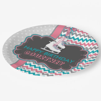 Winter Ice Skating Birthday Party Personalized Paper Plate