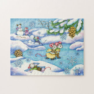 Winter Ice Skating Mice Puzzle