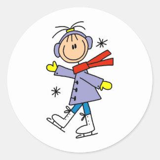 Winter Ice Skating Round Sticker