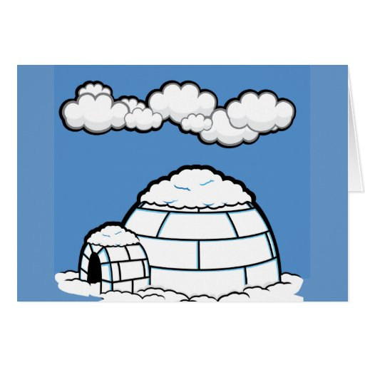 Winter IGLOO SNOW BLUE SKY WHITE CLOUDS CARTOON Greeting Card