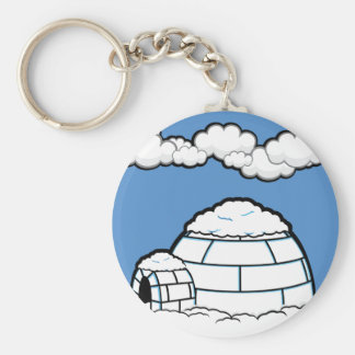 Winter IGLOO SNOW BLUE SKY WHITE CLOUDS CARTOON Key Ring
